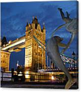 Tower Bridge The Dolphin And The Girl Canvas Print