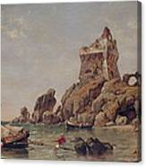 Tower Of Erchia, Gulf Of Salerno, 1849 Oil On Canvas Canvas Print