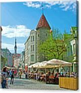 Towers As Gateways To Old Town Tallinn-estonia Canvas Print