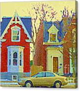 Town Houses In Winter Suburban Side Street South West Montreal City Scene Pointe St Charles Cspandau Canvas Print