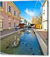 Town Of Bjelovar Square Fountain Canvas Print