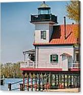 Town Of Edenton Roanoke River Lighthouse In Nc Canvas Print