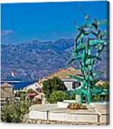 Town Of Razanac With Velebit Background Canvas Print
