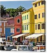 Town Of Veli Losinj Colorful Waterfront Canvas Print