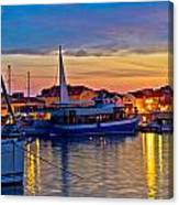 Town Of Vodice Harbor And Monument Canvas Print