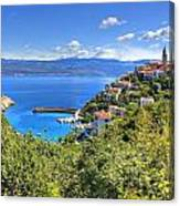 Town Of Vrbnik Green Landscape Canvas Print
