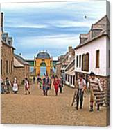 Townsfolk On Street To The Sea In Louisbourg Living History Museum-174 Canvas Print