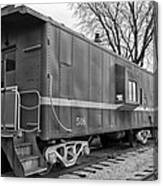 Tpw Rr Caboose Black And White Canvas Print