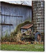 Tractor And Barn On Cloudy Day Canvas Print