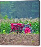 Tractor In A Corn Field Canvas Print
