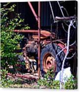 Tractor In Shed Canvas Print