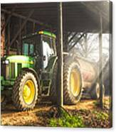 Tractor In The Morning Canvas Print