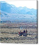 Tractor Used In Farming Along The Road To Shigatse-tibet Canvas Print