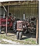 Tractors In The Shed Canvas Print