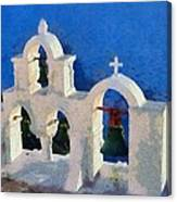 Traditional Belfry In Oia Town Canvas Print