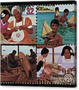 Traditional Pacific Handicrafts Postage Stamp Print Canvas Print