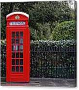 Traditional Red Telephone Box In London Canvas Print