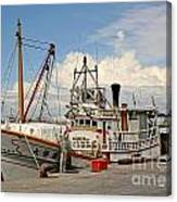 Traditional Taiwan Fishing Boat In Port Canvas Print