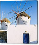 Traditional Windmill In A Village Canvas Print