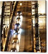 Traffic- Chain Bridge Budapest At Night Canvas Print