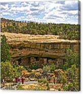 Trail View Of Spruce Tree House On Chapin Mesa In Mesa Verde National Park-colorado Canvas Print