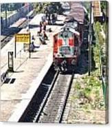 Train At Delhi Station Canvas Print