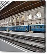 Train At Station Platform Budapest Hungary Canvas Print