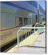 Train At Station Stop Canvas Print