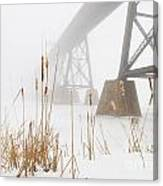 Train Bridge Lost In Fog Canvas Print