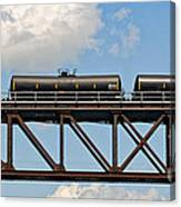 Train Cars On The Bridge Canvas Print
