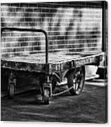 Train Depot Baggage Cart In B/w Canvas Print