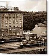 Train Passes Station Square Pittsburgh Antique Look Canvas Print