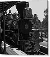 Train Ride Magic Kingdom Black And White Canvas Print
