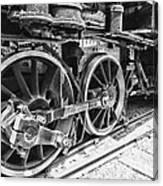 Train - Steam Engine Wheels - Black And White Canvas Print