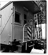Train - The Caboose - Black And White Canvas Print