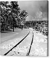 Train Tracks In The Snow Canvas Print