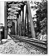 Train Trestle In B/w Canvas Print