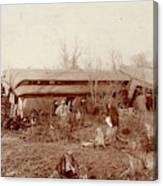 Train Wreck, 1890s Canvas Print