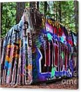 Train Wreck Art In The Forest Canvas Print