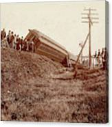 Train Wreck, C1900 Canvas Print