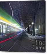 Tram At Night In Zurich Bahnhofstrasse Canvas Print
