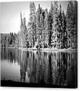 Tranquil Reflection In B And W Canvas Print