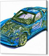 Transparent Car Concept Made In 3d Graphics 11 Canvas Print
