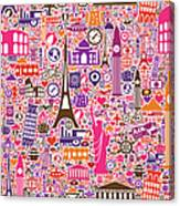 Travel Seamless Pattern Canvas Print