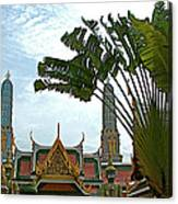 Traveler's Palm At Grand Palace Of Thailand In Bangkok Canvas Print