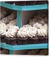 Trays Of Cupcakes Closeup Canvas Print