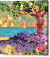 Tree And Flowers By The Water Canvas Print