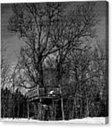 Tree House In Black And White Canvas Print