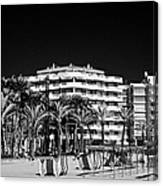 Tree Lined Seafront Promenade And Beach Salou Catalonia Spain Canvas Print