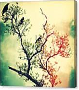 Tree Of Crows II Lights Canvas Print